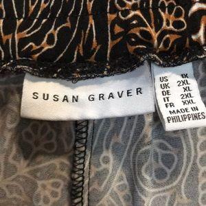 Susan Graver Pants - Susan Graver Black Paisley Print Liquid Knit Capri